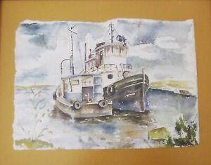 POMONA HALLENBECK ORIGINAL WATERCOLOR CHATTING TUG BOATS PAINTING HAND SIGNED