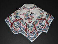 vintage handkerchief HANKY flower basket SHABBY COTTAGE CHIC scent it CHARMING