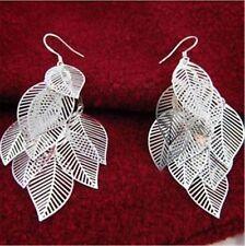 Stile bohèmien argento forma foglia orecchini pendenti a lampadario