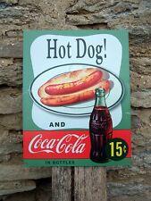 "Vintage Antique Style Coca Cola Tin Sign Retro Ad Coke & A Hot Dog USA Gift 16"""