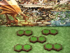 Grass 2-Hex Tile X5 Heroscape Terrain