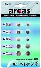 Knopfzellen Set Alkaline, 10-teilig,2xAG1, 2xAG3, 2xAG4, 2xAG10, 2xAG13