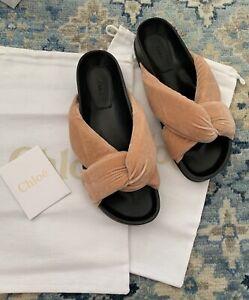 NIB Authentic CHLOE Knotted Beige Rose Velvet Slides Slippers Sandals Sz 38 EU