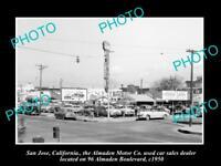 OLD LARGE HISTORIC PHOTO OF SAN JOSE CALIFORNIA, THE ALMADEN MOTOR Co c1950