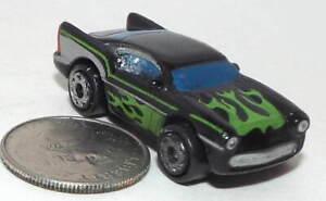 Small Micro Machine Plastic Cadillac Cadzilla in Black with Green Flames