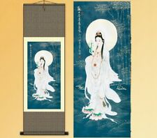 Chinese Silk Scroll Painting Beauty Goddess Of Mercy Ganyin Home Decoration