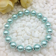 NEW Wholesale Fashion Jewelry 8mm Dark Green water Pearl Beads Stretch Bracelet