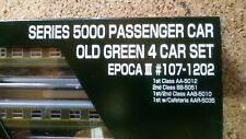 Set de 4 Coches Pasajeros 5000 Renfe Verdes Fileteados Kato Escala n como nuevos