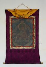 "50.25"" x 37.25"" Guru Rinpoche Tibetan Buddhist Thangka Scroll Painting Nepal"