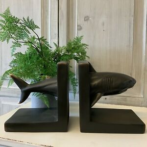 Antique Bronze Style Shark Book Ends Resin Study Decoration Gift Heavy Fish Men