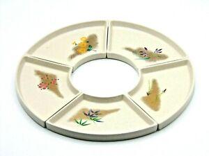 Late 1970s Chinese Tachikichi Fan-Shaped Ceramic Plates Set of 5 In Box (AP131G)