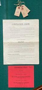 Antique Royal British Coronation Choir Ticket Rehearsal King George Queen Elizab