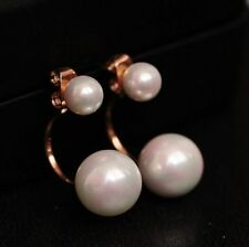 Double Pearls Cycle Stud Earrings 18K Rose Gold GP White Pearls Swarovski