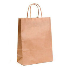 5 x Brown Paper Bags with Twisted Handle - 22cm x 31cm x 10cm (MEDIUM)