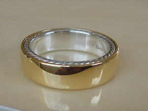 $1600 DAVID YURMAN 18K GOLD, SS STREAMLINE RING