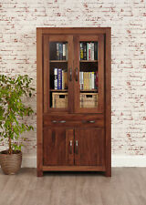 Mayan Dark Wood Display Cabinet Glass Door With Storage Large Solid Walnut