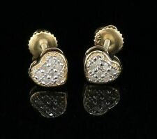 10K Yellow Gold Finish Real 0.05ct Diamond  Over Sterling Silver Heart Earrings