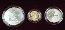 1992 US Mint Olympic Commemorative 3 Coin Silver & Gold UNC Set as Issued DGH