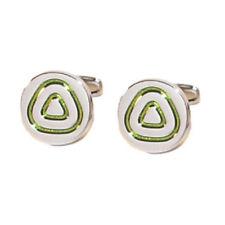 Round Silver Cufflinks with Green Triangle Design | Ideal mens cufflink