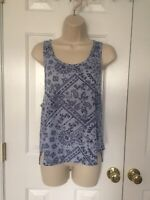 Wallflower Women's Light Blue Navy Print Sleeveless Tank Tunic M Top Blouse NWT