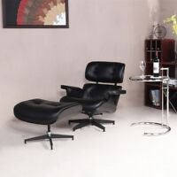 Classic Eames Style Lounge Chair & Ottoman 100% Top Grain Leather Black Color-US