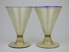 Salviati 2 Fumé glass red wine goblets blue trailed rim Murano antique Venetian