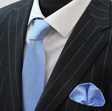Tie Neck tie with Handkerchief Light Blue with small white square