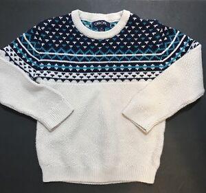 CHEROKEE Kids Boys Knit Top Sweater Size 5T Beige Blue Fair Isle Long Sleeve