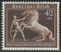 Stamp Germany Mi 699 Sc B145 1939 WWII Reich Brown Ribbon Race Horse Munich MH