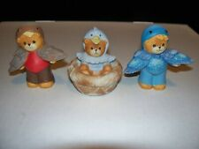 3 Lucy & Me Bears By Enesco Bear Dressed As Bird In Nest, Blue Bird & Brown Bird