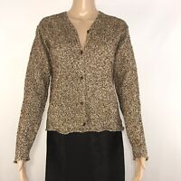 Eileen Fisher Cardigan Sweater Size Small Linen Blend Italian Yarn Brown Ivory