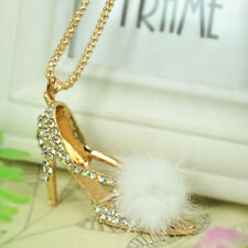 High-heeled Shoes Sweater Necklace Rhinestone Crystal Pendant Chain Jewelry Gift