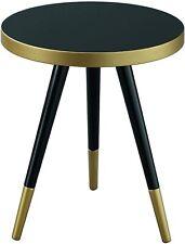 ASPECT Santana Mid Side Table Solid Rubber Wood Legs, Gold Black