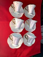 T Bavaria Germany Design 6 Cups & 6 Saucers Gold Trim and Light Pinky Accent