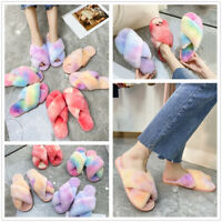 Women Tie-Dye Fluffy Slippers Faux Fur Slides Fuzzy Furry Comfy Home Slippers