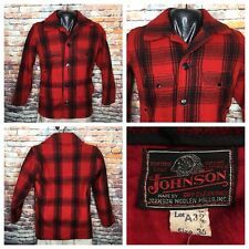 Vintage Johnson Woolen Mills Red Buffalo Plaid Wool Hunting Jacket Mens Size 36