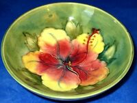 "Moorcroft Vintage Bowl Hibiscus, 5.5"", by William Moorcroft, ca1930-40s"