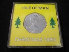 Fifty Pence 50p Isle Of Man 1980 Christmas Coin Stagecoach.Commemorative Box