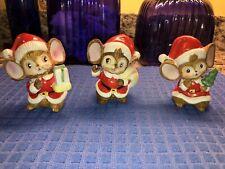 Vintage Homco Christmas Santa Mice Set Of 3 Porcelain Figurines Decor #5405