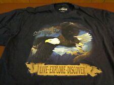 Outdoor Life T Shirt  Black Bald Eagle Still Flying Free Live Explore  Large M22