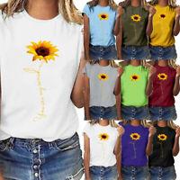 Women Casual Sunflower Print Short Sleeve T-Shirt Tops O-Neck Blouse Plus Size