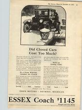 1922 Paper Ad Car Auto Automobile Essex Coach Closed Car Winter  Detroit MI