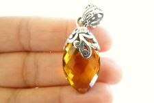 Ornate Golden Citrine Solitaire 925 Sterling Silver Pendant