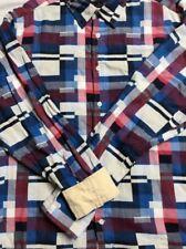 Cremieux Blue/Red Abstract Print 100% Cotton L/S Button Front Shirt XL EUC