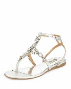 Badgley Mischka Melinda II Crystal T-Strap Sandal Size 8.5 Gold w Rhinestones