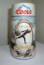 Coors Holiday Mug Stein The Rocky Mountain Legend Skiing Skier  1991