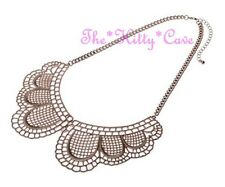 Vintage Filigree Lace Style Matte Brushed Brown Gold Peter Pan Collar Necklace