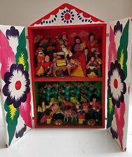 VINTAGE WOOD FOLK ART RETABLO / DIARAMA - PERU - BULL FIGHT CHARACTERS / HARVEST