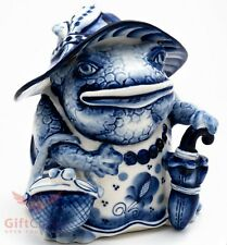 Porcelain Gzhel Lady Frog Toad umbrella Figurine Souvenir handmade hand painted