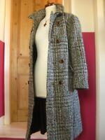 Ladies vintage CASTLE ISLAND Irish TWEED WOOL COAT UK 14 12 100% wool duster